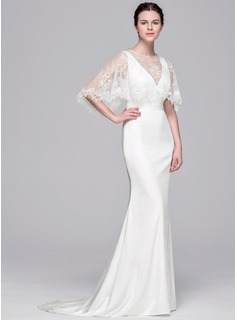 Trumpet/Mermaid V-neck Sweep Train Satin Wedding Dress