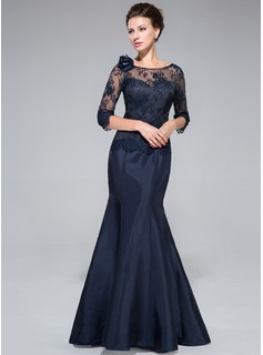 Trumpet/Mermaid Off-the-Shoulder Floor-Length Taffeta Lace Mother of the Bride Dress With Flower(s)