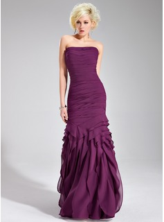 Sheath Strapless Floor-Length Chiffon Evening Dress With Ruffle