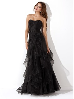 A-Line/Princess Sweetheart Floor-Length Organza Evening Dress With Cascading Ruffles