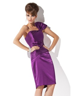 Sheath/Column One-Shoulder Knee-Length Charmeuse Cocktail Dress With Ruffle