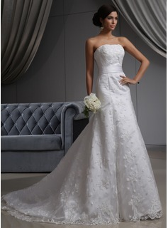 A-Line/Princess Strapless Chapel Train Satin Lace Wedding Dress