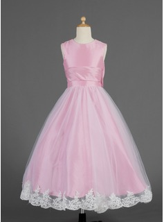 A-Line/Princess Scoop Neck Ankle-Length Taffeta Tulle Flower Girl Dress With Lace Bow(s)