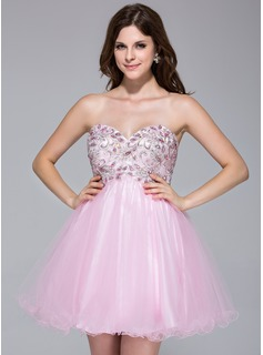 A-Line/Princess Sweetheart Short/Mini Tulle Prom Dress With Lace Beading