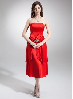 A-Line/Princess Strapless Tea-Length Charmeuse Bridesmaid Dress With Beading Bow(s) Cascading Ruffles