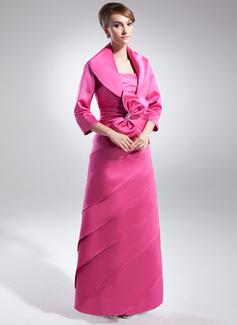 Çan/Prenses Askısız Uzun Etekli Satin Gelin Annesi Elbisesi