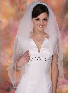 Two-tier Fingertip Bridal Veils With Pearl Trim Edge