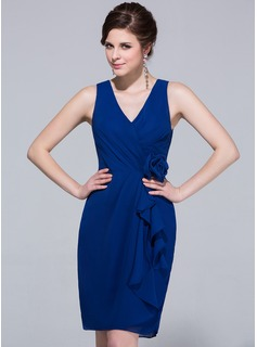 Sheath/Column V-neck Knee-Length Chiffon Bridesmaid Dress With Cascading Ruffles