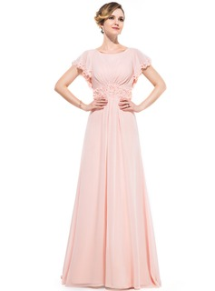 A-Line/Princess Scoop Neck Sweep Train Chiffon Evening Dress With Ruffle Beading Flower(s) Sequins