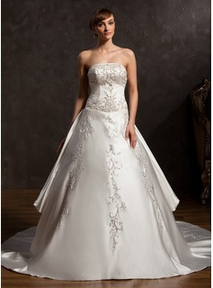 Ball-Gown Strapless Cathedral Train Satin Wedding Dress With Embroidered Beading