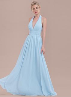 A-Line/Princess Halter Floor-Length Chiffon Bridesmaid Dress With Ruffle