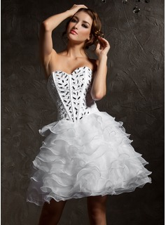 A-Line/Princess Sweetheart Knee-Length Organza Satin Homecoming Dress With Beading Cascading Ruffles
