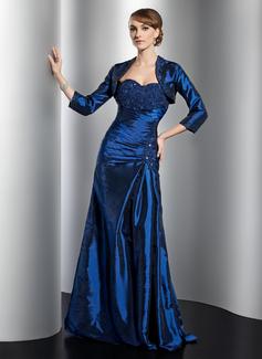 Vestidos princesa/ Formato A Coração Longos Tafetá Vestido para a mãe da noiva com Pregueado Renda Bordado