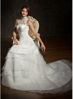 A-Line/Princess High Neck Chapel Train Satin Organza Lace Wedding Dress With Ruffle Beading