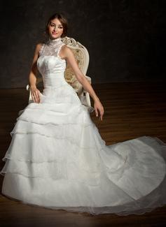 Vestidos princesa/ Formato A Frente única Cauda longa Cetim Organza de Renda Vestido de noiva com Pregueado Bordado
