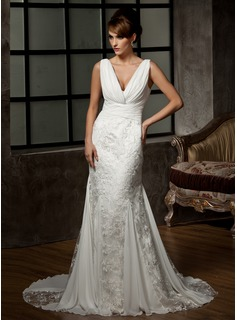 Mermaid V-neck Court Train Chiffon Tulle Wedding Dress With Ruffle Lace (002000583)