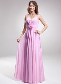 A-Line/Princess Sweetheart Floor-Length Chiffon Bridesmaid Dress With Ruffle Flower(s)