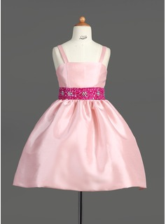 A-Line/Princess Knee-length Flower Girl Dress - Taffeta Sleeveless Straps With Sash/Beading/Sequins