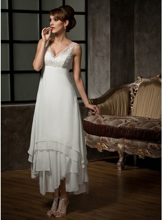 A-Line/Princess V-neck Ankle-Length Chiffon Tulle Wedding Dress With Lace Beading Sequins