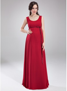 Empire Scoop Neck Floor-Length Chiffon Chiffon Maternity Bridesmaid Dress With Bow(s)