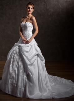 Ball-Gown Sweetheart Chapel Train Taffeta Wedding Dress With Embroidered Ruffle Beading