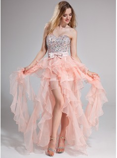 A-Line/Princess Sweetheart Floor-Length Organza Charmeuse Prom Dress With Beading Bow(s) Cascading Ruffles