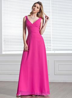 Çan/Prenses V Yaka Uzun Etekli Chiffon Nedime Elbisesi Ile Büzgü