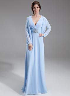 Princesový Véčkový výstřih Délka na zem Chiffon Šaty pro matku nevěsty S Volán Zdobení korálky