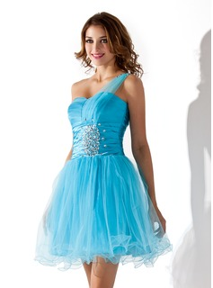 A-Line/Princess One-Shoulder Short/Mini Tulle Homecoming Dress With Ruffle Beading