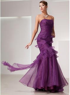 Mermaid Strapless Floor-Length Organza Prom Dress With Ruffle