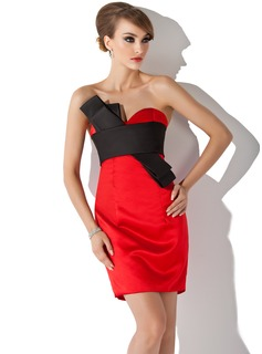 Forme Fourreau Bustier en coeur Court/Mini Satiné Robe de cocktail avec Ceintures