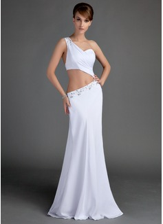 Trumpet/Mermaid One-Shoulder Floor-Length Chiffon Evening Dress With Ruffle Beading