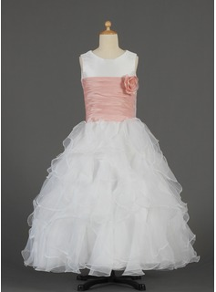 A-Line/Princess Floor-length Flower Girl Dress - Taffeta/Organza Sleeveless Scoop Neck With Ruffles/Sash/Flower(s)
