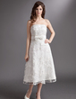 A-Line/Princess Strapless Tea-Length Lace Wedding Dress With Bow(s) (002016315)