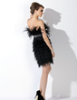 A-Line/Princess Sweetheart Short/Mini Feather Cocktail Dress With Beading (016008554)