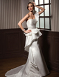 Trumpet/Mermaid One-Shoulder Chapel Train Satin Wedding Dress With Beading Cascading Ruffles (002011693)
