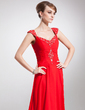 A-Line/Princess V-neck Court Train Chiffon Mother of the Bride Dress With Ruffle Beading (008006156)