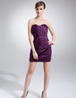 Sheath/Column Sweetheart Short/Mini Satin Cocktail Dress With Ruffle Beading Appliques Lace (016016249)