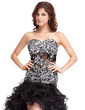 A-Line/Princess Sweetheart Asymmetrical Organza Prom Dress With Beading Appliques Lace Sequins Cascading Ruffles (018022786)
