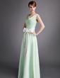 A-Linie/Princess-Linie V-Ausschnitt Bodenlang Satin Brautjungfernkleid mit Rüschen Schleifenbänder/Stoffgürtel Schleife(n) (007001060)