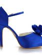 Women's Satin Stiletto Heel Pumps Sandals With Buckle Satin Flower (047039732)
