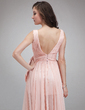 A-Line/Princess V-neck Sweep Train Chiffon Prom Dress With Ruffle Beading Split Front (018021084)