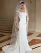 One-tier Chapel Bridal Veils With Lace Applique Edge (006024463)