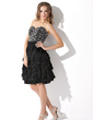 A-Line/Princess Sweetheart Knee-Length Chiffon Homecoming Dress With Beading Cascading Ruffles (022009081)