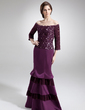 Trumpet/Mermaid Off-the-Shoulder Floor-Length Satin Lace Mother of the Bride Dress With Beading (008006094)