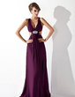 A-Line/Princess V-neck Sweep Train Chiffon Evening Dress With Ruffle Beading Split Front (017004356)