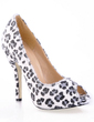 Suede Stiletto Heel Sandals Peep Toe With Animal Print shoes (085016582)