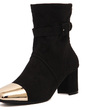Süet Kalın Topuk Bot Mid-Buzağı Boots Ile Toka Diğerleri ayakkabı (088057532)