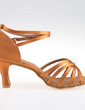 Women's Satin Heels Sandals Latin With Ankle Strap Dance Shoes (053026933)