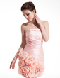 Sheath/Column Strapless Short/Mini Taffeta Homecoming Dress With Ruffle Flower(s) (022009217)